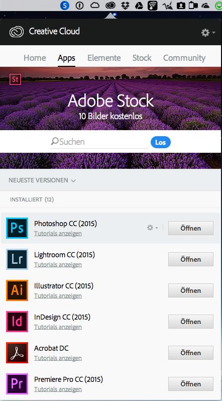 Sie laden von der Creative Cloud-Website einfach alle Desktop-Programme wie Photoshop, InDesign und Illustrator die Sie gerade brauchen, auf Ihren Rechner. Die Programme liegen auf Ihrer Festplatte, genau wie bei der Creative Suite.